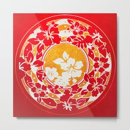 Hawaiian Red Gold Disc Metal Print
