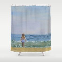 Girl on East Hampton Beach Shower Curtain