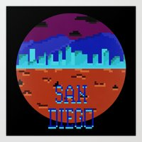 san diego Art Prints featuring San Diego by Simon Alenius