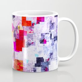 vintage psychedelic geometric square pixel pattern abstract in pink red blue purple Coffee Mug