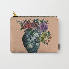 Flowered Heart Carry-All Pouch