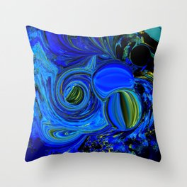 Abstract Blue with a Golden Glow Throw Pillow