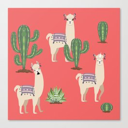 Llama with Cacti Canvas Print