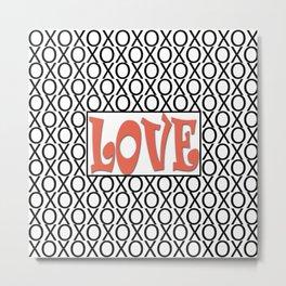 Pantone Living Coral LOVE XOs (Hugs and Kisses) Typography Art Metal Print