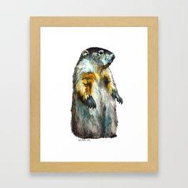 Watercolor Woodchuck (Groundhog) Framed Art Print
