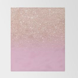 Rose gold glitter ombre on sweet lilac Throw Blanket
