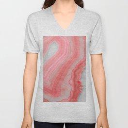 Coral Pink Agate Unisex V-Neck