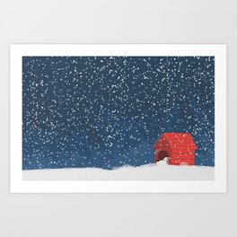 Snoopy in the Snow Art Print