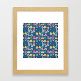 Whimsical Floral Pattern in Blue, Purple, Yellow, Pink Framed Art Print