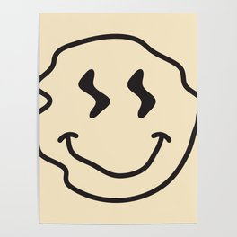 Wonky Smiley Face - Black and Cream Poster