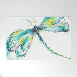 Watercolor Dragonfly Welcome Mat