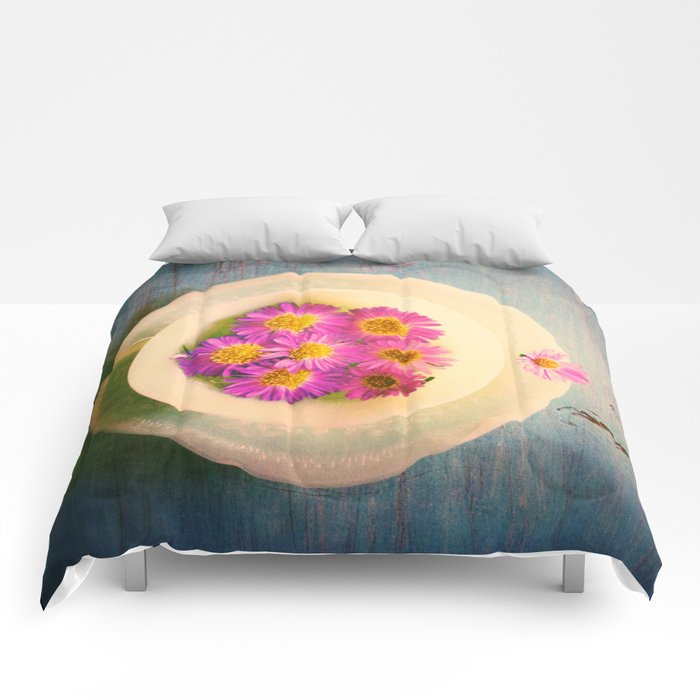 Spring Flowers on Vintage Table Comforters