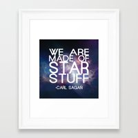 carl sagan Framed Art Prints featuring Carl Sagan Quote - Star Stuff by Yellow Bird Designs