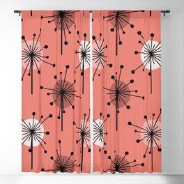Atomic Era Sputnik Starburst Flowers Salmon Pink Blackout Curtain