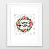 merry christmas Framed Art Prints featuring Merry Christmas by Julia Badeeva