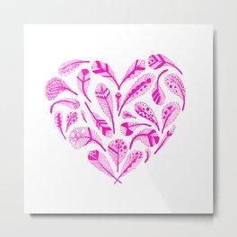 Feather Heart (Magenta) Metal Print