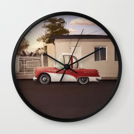 The Cuban Kingpin - Vintage car in the streets of Cuba Wall Clock
