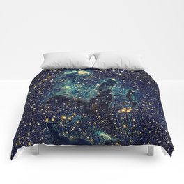 Pillars of Creation GalaxY  Teal Blue & Gold Comforters