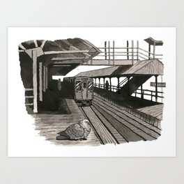 Pigeon at CTA Station Art Print