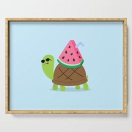 Turtle with Watermelon Drink Serving Tray