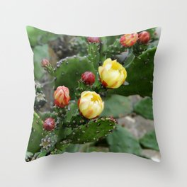 Cactus with flower Throw Pillow
