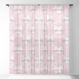 Little Girls Birthday Kitty Cats Sheer Curtain