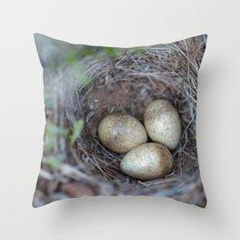 Horned lark nest and eggs - Yellowstone National Park Throw Pillow