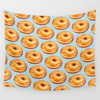 doughnut Wall Tapestries featuring Glazed Doughnut Pattern by Kelly Gilleran