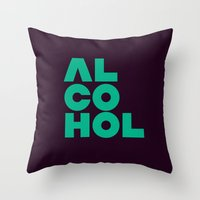 alcohol Throw Pillows featuring Alcohol by Bálint Magyar