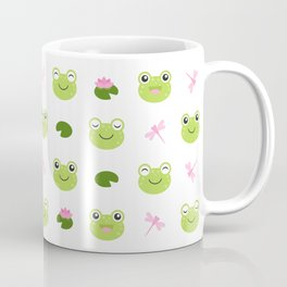 Frogs, Dragonflies and Lilypads on White Coffee Mug