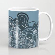Detailed diagonal tangle, blue Mug