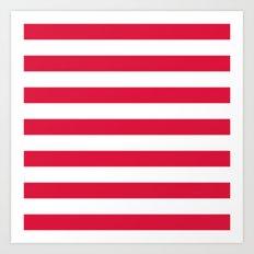 Horizontal Stripes (Crimson/White) Art Print