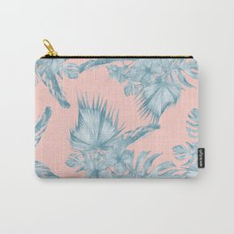 Dreaming of Hawaii Pale Teal Blue on Millennial Pink Carry-All Pouch