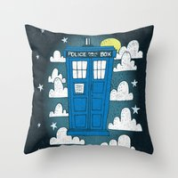 tardis Throw Pillows featuring blue box by Matthew Taylor Wilson