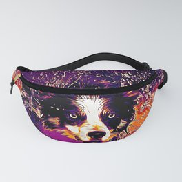 border collie jumping in water vector art late sunset Fanny Pack