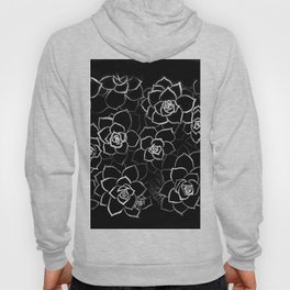 White ink. graphic with white ink and black cardboard. flowers Hoody