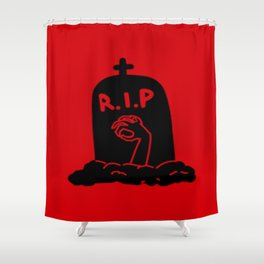 Zombie Exiting Grave (Silhouette) Shower Curtain