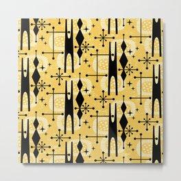 Retro Atomic Mid Century Pattern 771 Yellow Metal Print