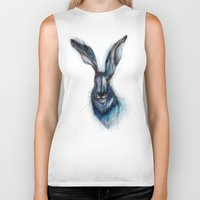 hare Biker Tanks featuring Blue Hare by ECMazur