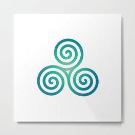 St. Patrick's Day Celtic Blue Triskelion #1 Metal Print