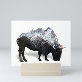 Bison Buffalo Double Exposure Surreal Wildlife Native Animal Mini Art Print