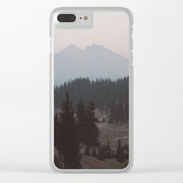 Pine forest In The Foreground Mountain In The Distance Modern Minimalist Photo Clear iPhone Case