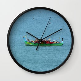 Colorful Wooden Fishing Boat at Sea, India Wall Clock