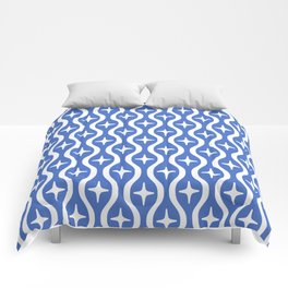 Mid century Modern Bulbous Star Pattern Blue Comforters