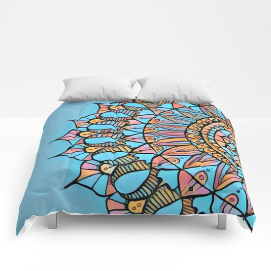 Bloom Mandala in Turquoise Comforters