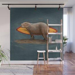 Capybara Surfer Wall Mural