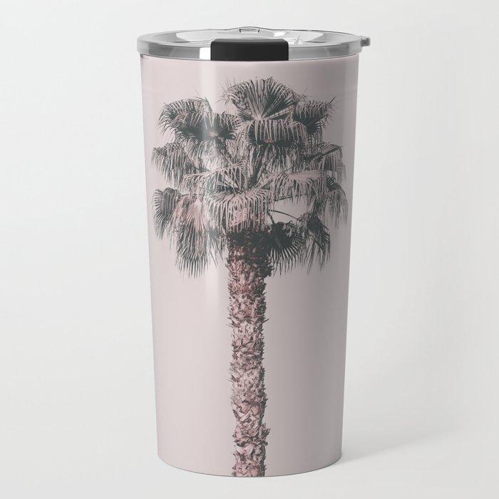 Tropical Palm Tree In Pastel Pink Light Travel Mug
