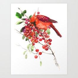 Cardinal Bird and Berries, red green Christmas colors artwork design Cardinal lover Art Print