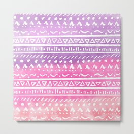 Geometric hand drawn abstract white aztec modern summer pink purple coral ombre watercolor pattern Metal Print