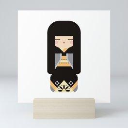 Kawaii Posh Kokeshi #1 - Folk Art Style Japanese Doll Mini Art Print